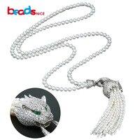 Beadsnice Новый пресной воды Жемчужное ожерелье женщины роскошь серебра 925 головы леопарда кисточкой кулон ожерелье для нее ID30108