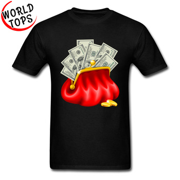 USA Dollar Image T-Shirt Red Purse With Money Black Tops & Tees Popular Short Java Street Tshirt Stephen King Arrival Tops image