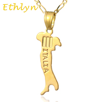 Ethlyn brand Italiana Map pendant & necklace for women & men Gold Color Italy  map fashion birthday /anniversary gift