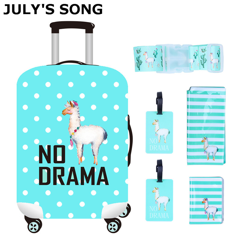 JULY'S SONG 6PCS Travel Accessories Sets Suitcase Cover Passport Bag Luggage Tag Belt For 18-32 Inch Trolley Bag Suitcase Case