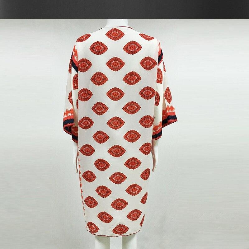 Mousseline de soie imprimé chemise plage à l'extérieur du tour cardigan manteau été nouveau femmes bohème plage resort à l'extérieur dames blouse - 5