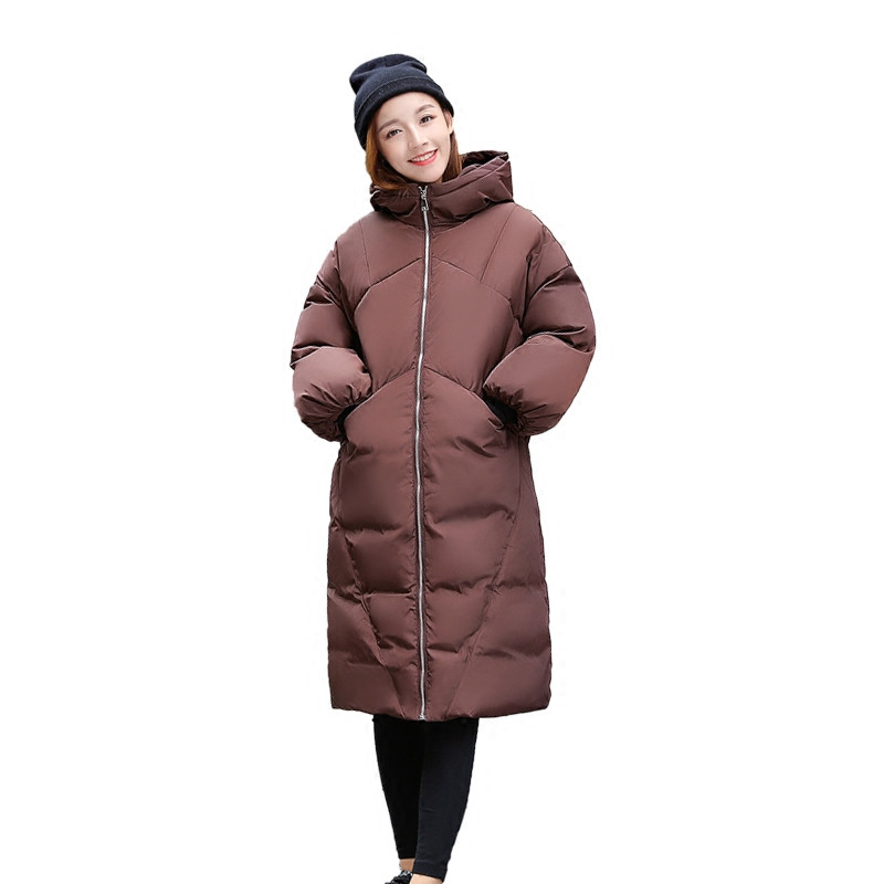 Winter Fashion Loose Solid Color Manteau Femme Hiver Casual Cotton Padded Hooded Coat Parka Long Winter Jacket Large Size TT3454 fashion warm lambswool hooded thick cotton parka padded manteau femme hiver casual solid color wadded winter jacket tt3349