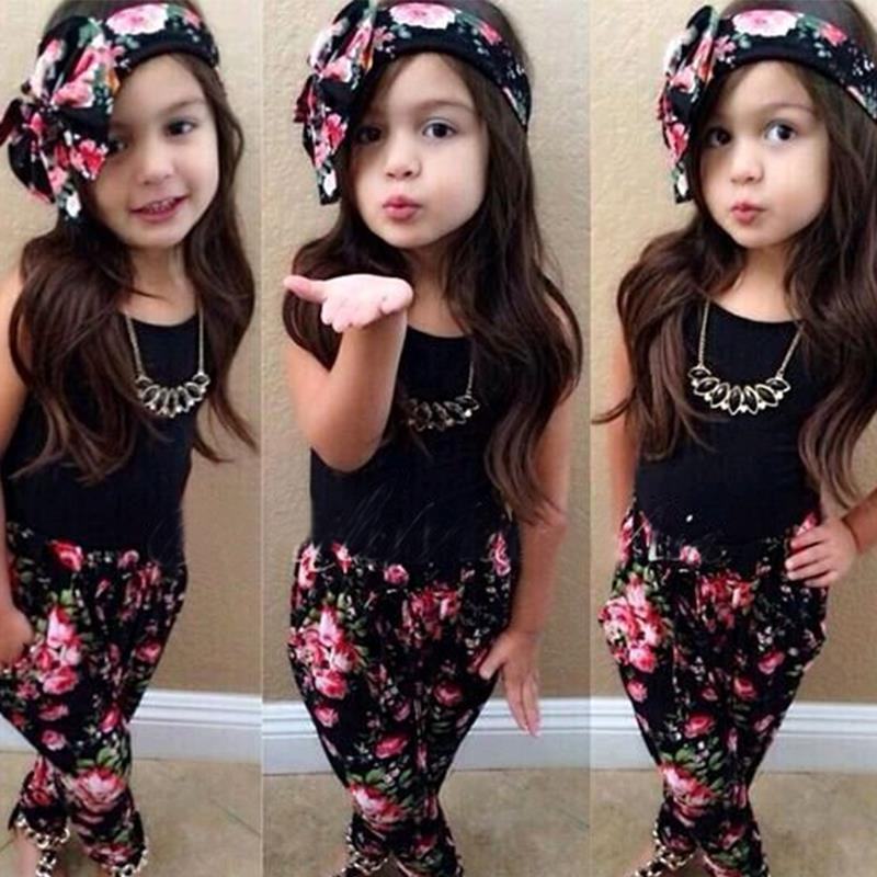 Girl Fashion floral casual 3pcs suit children clothing set sleeveless outfit top+pants+headband summer new kids party beach sets new fashion suspender with sleeveless shirt suit for girl