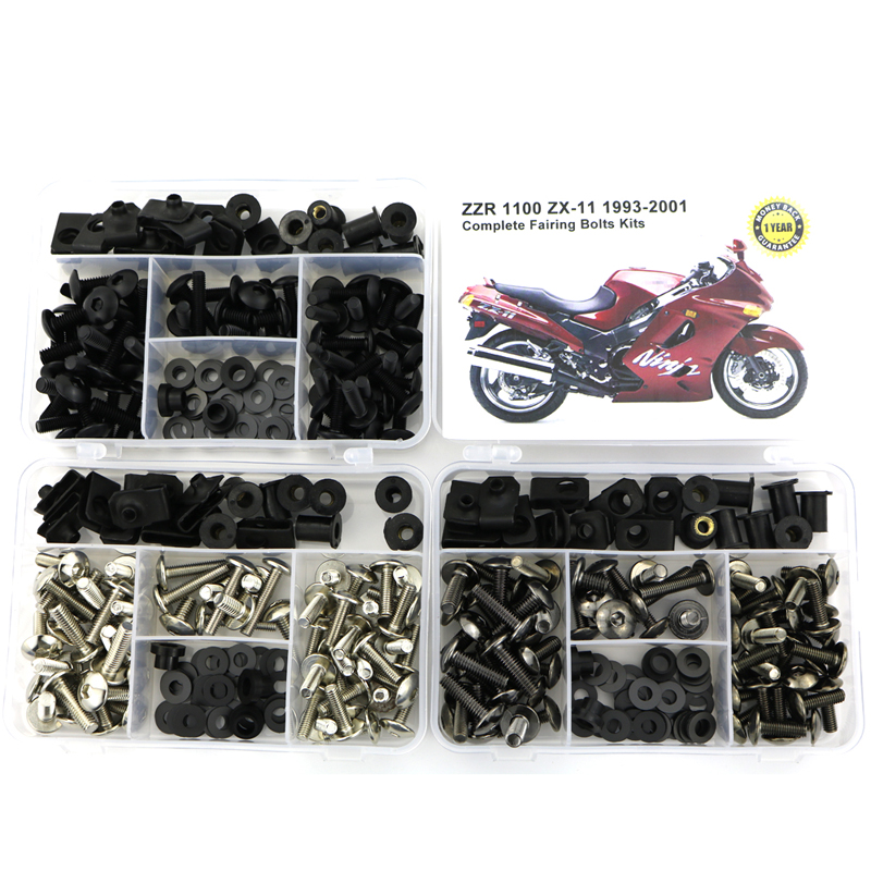 For Kawasaki ZZR1100 ZX-11 1993-2001 Motorcycle Complete Full Fairing Bolts Kits Screws Steel Bodywork Speed Nuts Covering Bolt