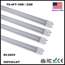 Stock In US T8 LED Bulbs 4 ft 4 Feet 1200MM 18W 22W SMD 2835 LED Tubes Lights G13 Lamp Work into Existing Fixture Retrofit Light(China)