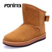 New Design Winter Warming Roung Toe Snow Boots Solid Slip On Bow Tie Flat With Comfortable