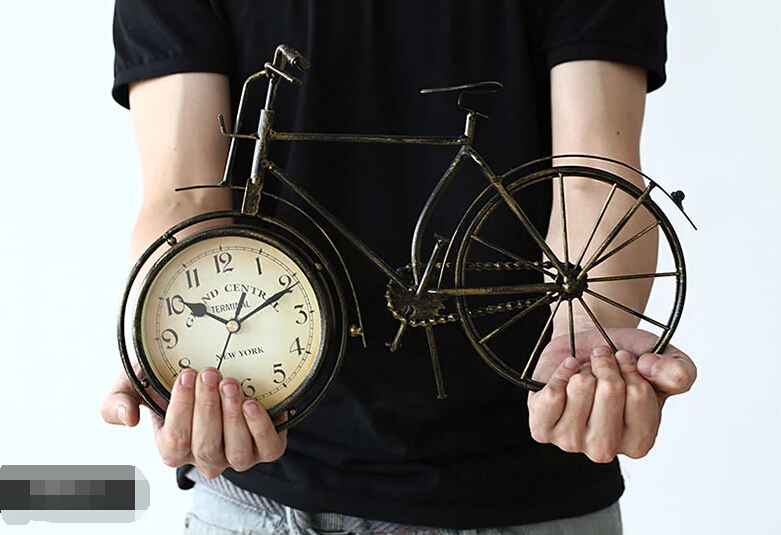 reminiscent table clock metal bicycle shaped resin round wheel mute desk clock home decoration vintage table clock bike