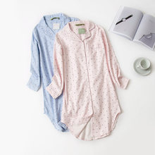 48b5211756 Autumn Stripe Polka Dot Sexy Women Sleepshirts 100% Brushed Cotton Fresh  Simple Nightgowns Women Sleepwear