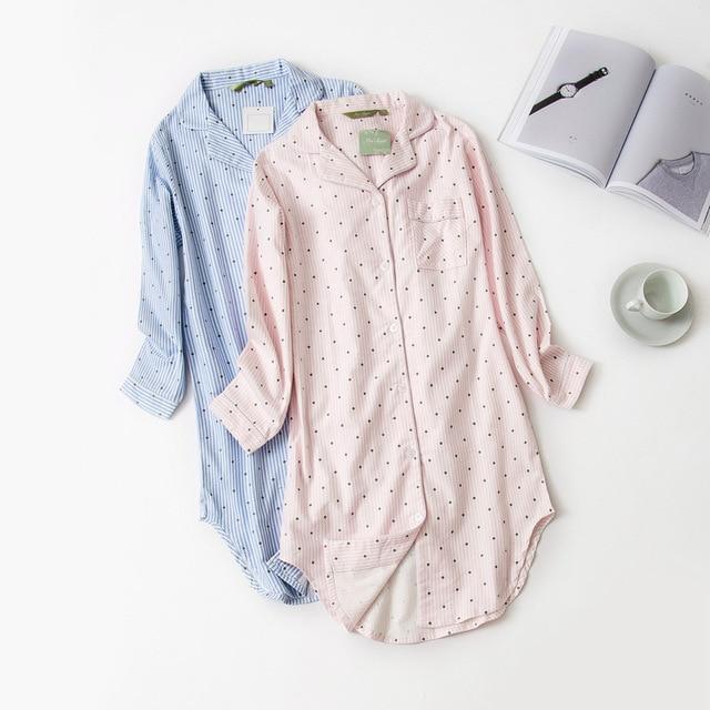 Autumn Stripe Polka Dot Sexy Women Sleepshirts 100% Brushed Cotton Fresh Simple Nightgowns Women Sleepwear Nightdress Nightwear