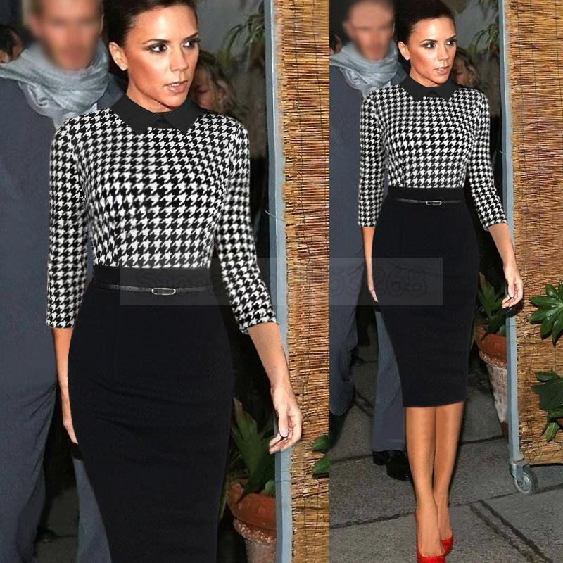 Платья для женщин бросился Оболочка три четверти новинка 2015 для работы элегантное платье знаменитости ремень носить в офис