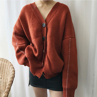 SuperAen Autumn and Winter Korea Style New Women Sweater Coat Loose Cotton Casual Knitted Cardigan V Collar Wild Sweater Female
