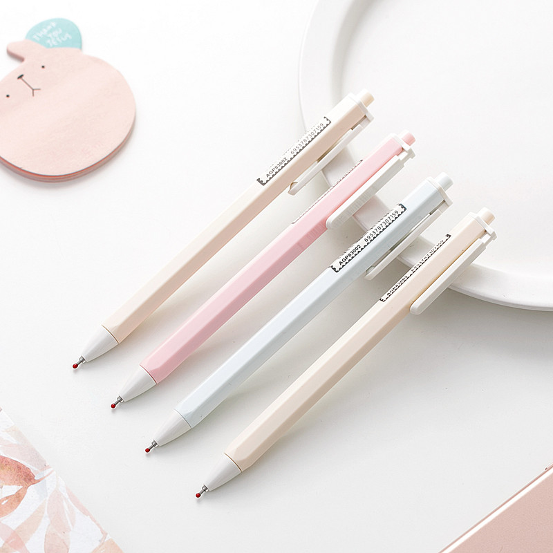 JIANWU 2pcs/set 0.35mm Nude Color Simplicity Gel Pen  Creative Cute Neutral Pen Bullet Journal Supplies Kawaii