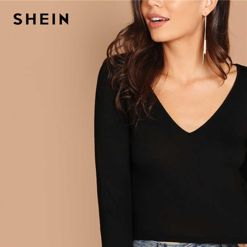 SHEIN czarne biuro Lady V Neck jednolity kolor, długi rękaw Crop Slim Fit Tee jesień nowoczesna pani odzież robocza elegancka koszulka damska Top