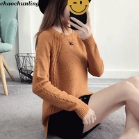 2017 New Winter Japan Women Open Fork Knitted Sweater Long Sleeve Lady O Neck Gray Beige