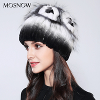 MOSNOW Bonnet Femme Women S Hats 100 Real Rex Rabbit Fur Flower Mixed Color 2017 New