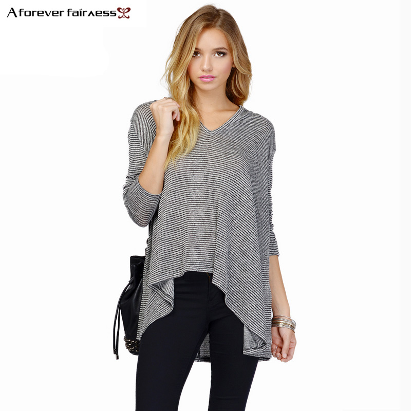 Street Casual Pullovers Women Hoodies V-Neck Long Sleeve Thin Stripes Hem Asymmetrical Cotton Loose Knitted Sweatshirts NC-582