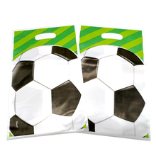 Купить с кэшбэком 10PCS Green Football Theme Kids Favors Plastic Gifts Bags Happy Birthday Party Baby Shower Decoration Soccer Candy Loot Bag