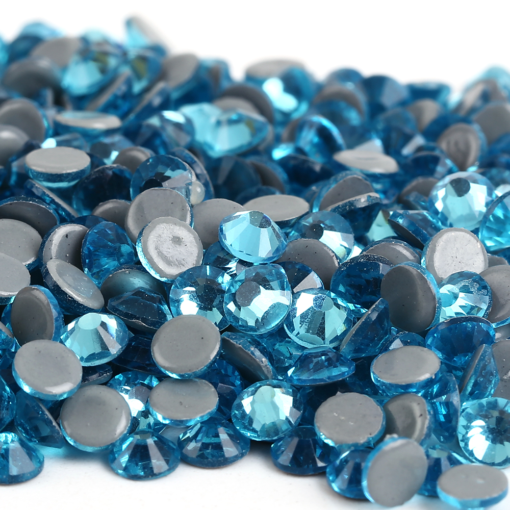 Free Shipping! 288pcs/Lot, ss30 (6.3-6.5mm) High Quality DMC Aquamarine Iron On Rhinestones / Hot fix Rhinestones