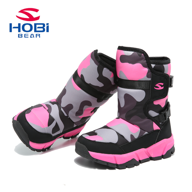 HOBIBEAR Kids Shoes for girls Winter Boots for Boys Snow Anti-slip Waterproof Outdoor Warm Mid-calf Fashion Snowshoes AW3717 uovo children winter shoes kids fox fur walking shoes girls snow shoes mid cut footwear for kids winter hiking boots for girls