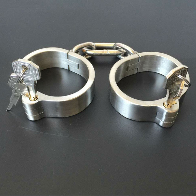 Metal handcuffs for sex adult games bdsm bondage stainless steel hand cuffs slave restraints fetish sex toys for couples