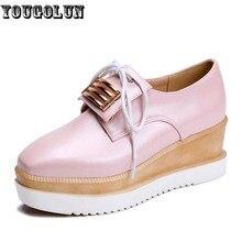 YOUGOLUN Elegant Loafers Women Casual Lace up Square toe Shoes Woman Fashion Knot Shoe Lady White Pink Blue Spring Platform Shoe