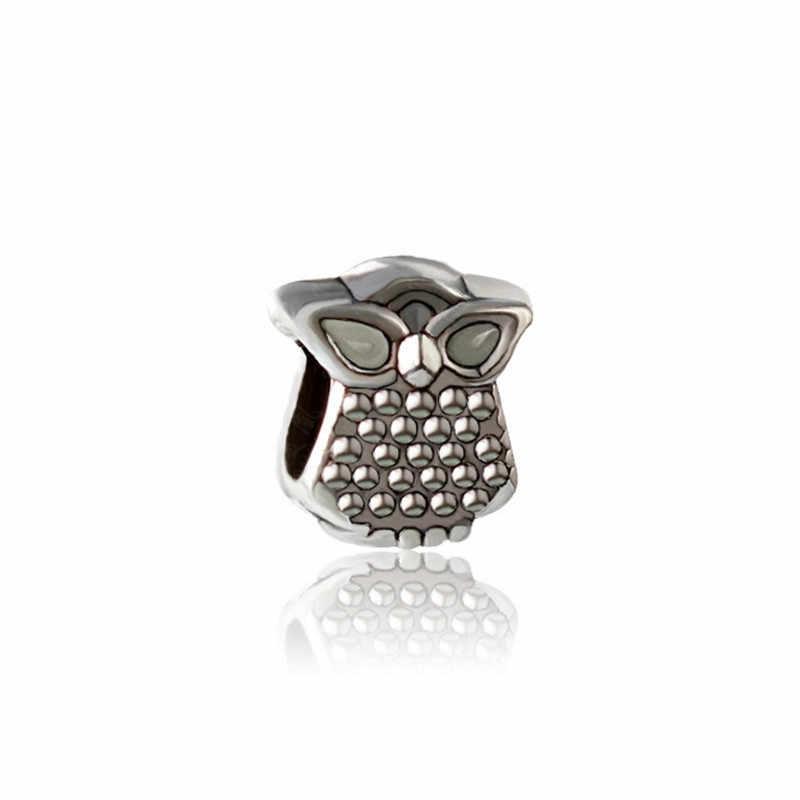 JJ79 nowa sowa koraliki do biżuterii DIY Charms koralik pasuje do pandora bransoletki i naszyjniki wisiorek autentyczne koraliki biżuteria Making kobiety prezenty
