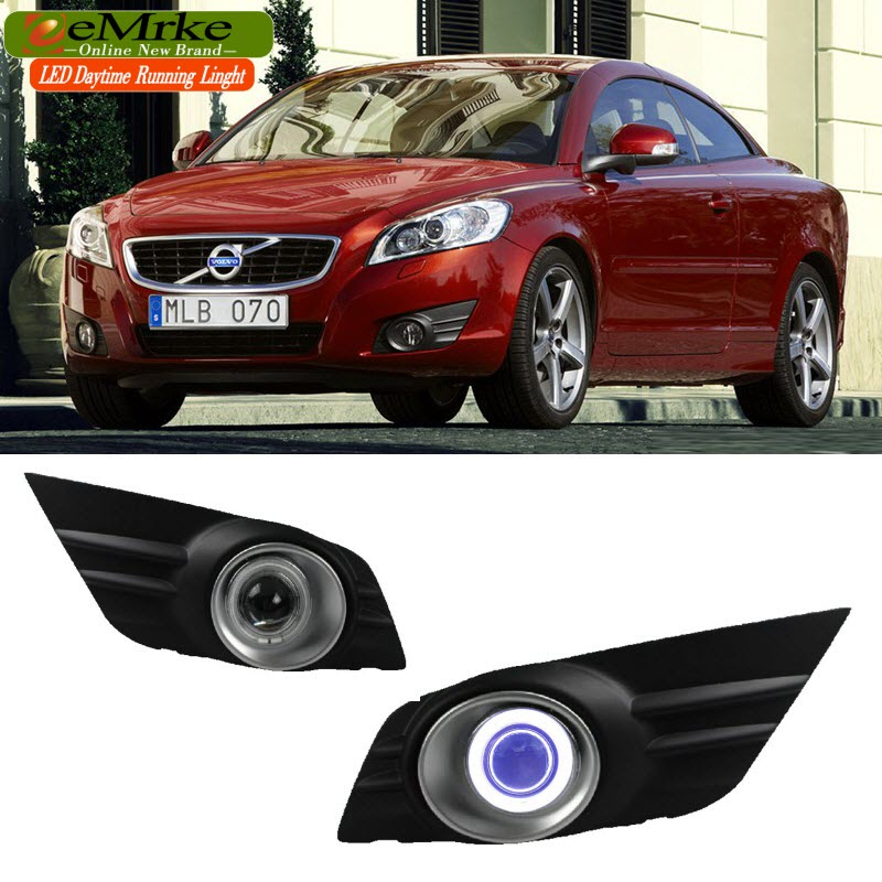 eeMrke Angel Eye DRL For Volvo C70 2010-2012 LED Daytime Running Lights Tagfahrlicht Halogen Bulbs H11 55W Fog Lamp Kits for opel astra h gtc 2005 15 h11 wiring harness sockets wire connector switch 2 fog lights drl front bumper 5d lens led lamp
