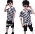 Пакет 2014 мальчика детская летняя одежда cuhk полоса из двух частей с коротким рукавом детей футболки ребенок футболка комплект одежды