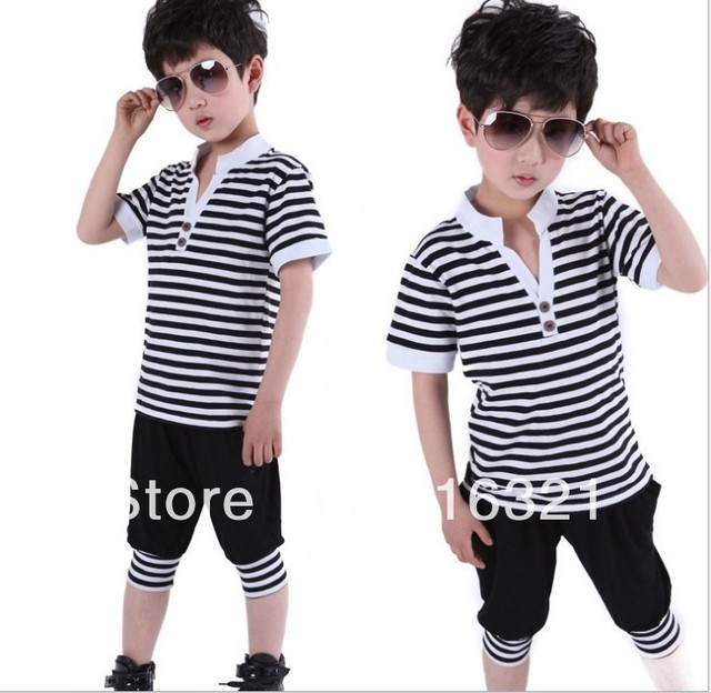 Package 2014 The boy children's summer wear cuhk stripe two-piece with short sleeves children t shirts kid t-shirt clothing set