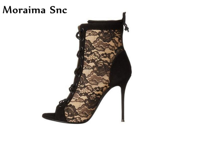 Moraima Snc 2018 Newest fashion women boots peep toe lace-up lace vintage suede side zip Sexy thin super high heel Ankle boots moraima snc spring summer newest fashion women boots peep toe lace up ankle lace up sexy thin super high heel