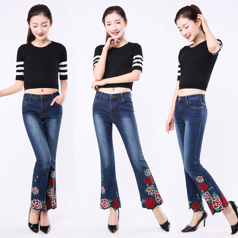 KSTUN FERZIGE Woman Jeans Boot Cut Embroidered High Stretch Womens Flared Pants Ladies Flowers Embroidery Blue Jeans Mujer Femme Jeans 12
