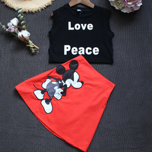 Summer Girls Clothes Sets Sleeveless Kids Mickey Clothing Sets Infant Cute Cotton Girls Tops & Skirt Sets Children Set for Girls