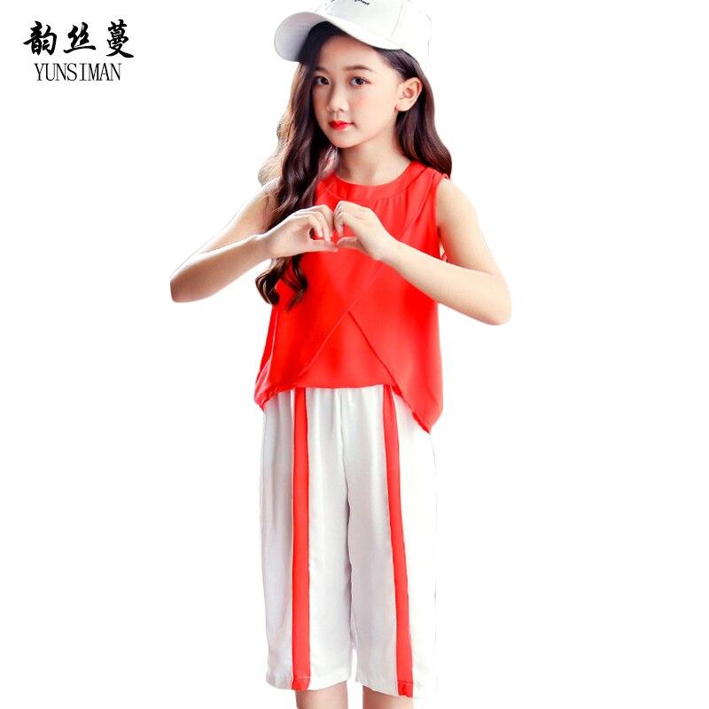 Baby Girls Vest Sets Summer 2018 Kids Beach Sleeveless Chiffon Shirt Knee Pants Children Kids Clothing Set 8 9 10 11 12 Y 5C85