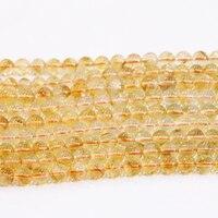 Trendy 6mm 8mm 10mm Naturale Cristallo Giallo Pietra Rotonda Tallone Per Monili Che Fanno Diy Collana Bracciali Allentato Beads 15 inch B3293