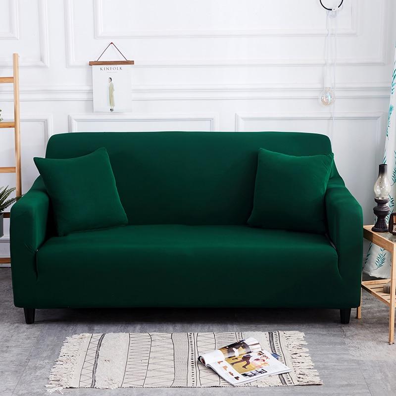 US $30.38 |Dark Green Color Slipcover Sofa Cover Tightly All Inclusive Wrap  Single/Double/Three/Four Seat Sofa Cover Elasticity Sofa Cover-in Sofa ...