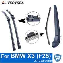 SLIVERYSEA Front and Rear Wiper Blade Arm For BMW X3 F25 2010 Onwards 4 Door SUV High quality Natural Rubber Windscreen