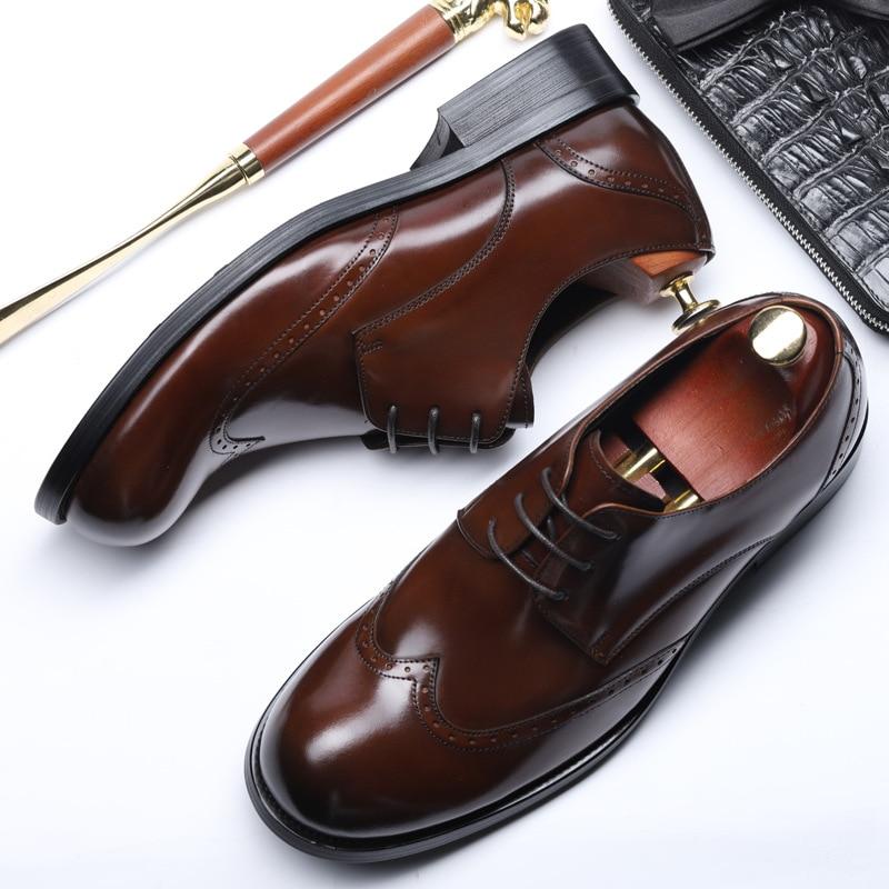 Couro Laço Cabeça De Grande Sapatos 019 Homens Negócios Dos Rodada Desgaste E Verão Formal coffee Novos Casual Primavera Black n8q1wCR