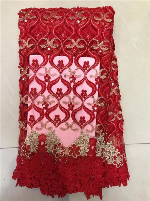 b87744261f Royal blue African French Lace Fabric High Quality Mesh Design Latest Stone  bead lace fabric bead For Wedding 5 yards lot Red