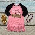 Весна новорожденных девочек новый дизайн хлопок коралловых рождения носить крон платья кисточкой длинные рукава с соответствующими лук и ожерелье набор