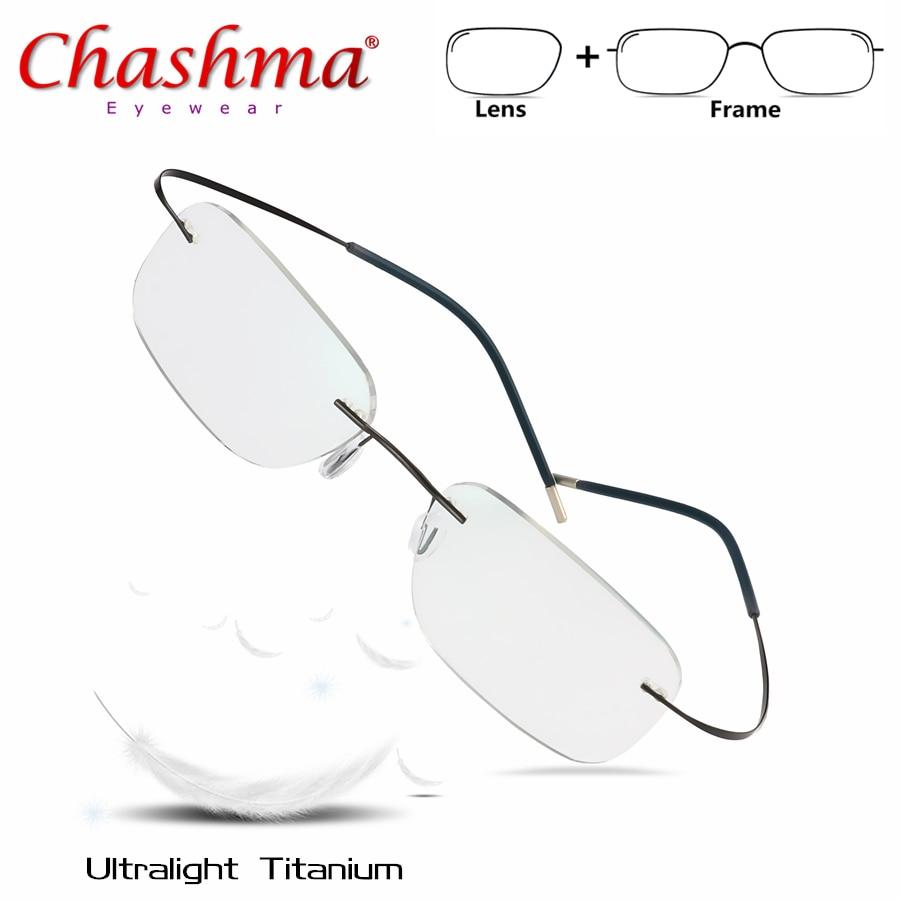 Titanium Prescription Glasses Men Women Rimless Glasses  Frame With Lens Eyeglasses Ultralight Glasses