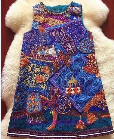 2-9Y nuevo 2016 spring girls alta calidad estilo étnico muchachas del vestido del chaleco nuevo estilo princesa dress girls primavera vestido del chaleco del verano