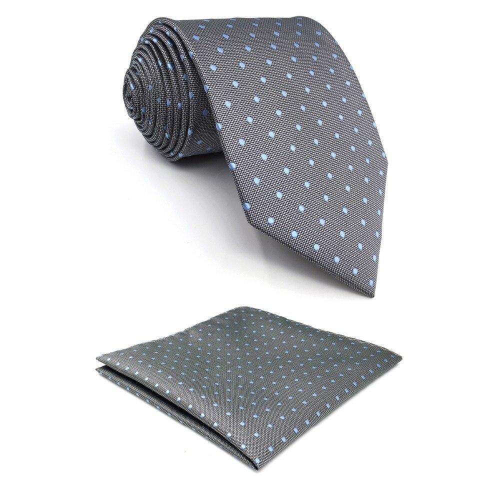 D21 Grey Dots Ties for Men Silk Fashion Extra Long Necktie Pocket Square Set Slim