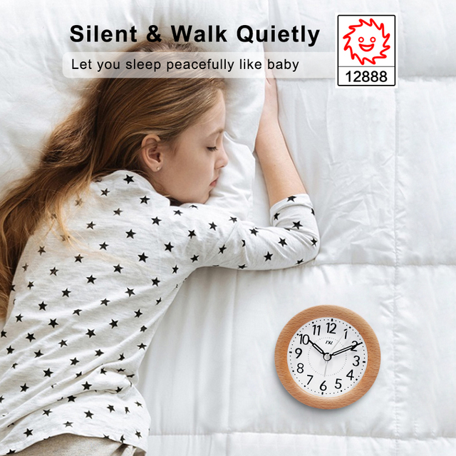 TXL Wood Snooze Alarm Clock, Luminous Needle, Smooth Circular, Sweep Movement Mute, Student Kids Bedside clocks Desktop decor