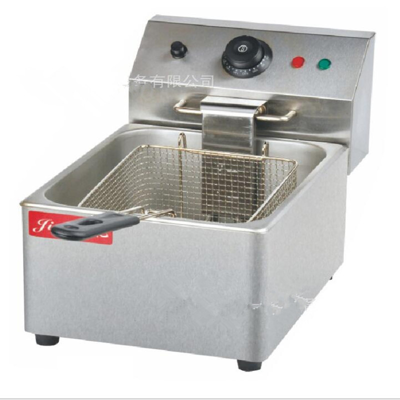 Electric Deep Fryer Commercial Stainless Steel Fryer Fried Chicken Frying Pan Machine Grill Frying pan French fries machine thick single cylinder electric fryer commercial electric fryer fried chicken oven fries fried squid machine dedicated