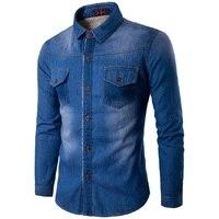 ז 'אן ינס חולצות גברים האופנה האביב מלא שרוול חולצה בתוספת גודל חורף חם בתוספת קטיפה זכר Slim Fit מקרית חולצות Streetwear Z15