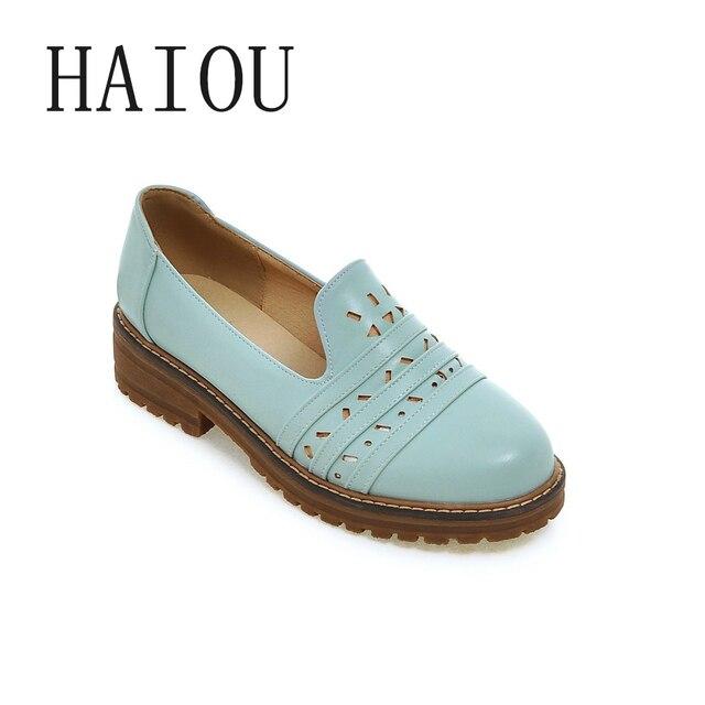 2742553f2 2017 Moda Primavera Mulheres Sapatos de Plataforma Mulher Brogue Flats Couro  de Patente Lace Up Calçados