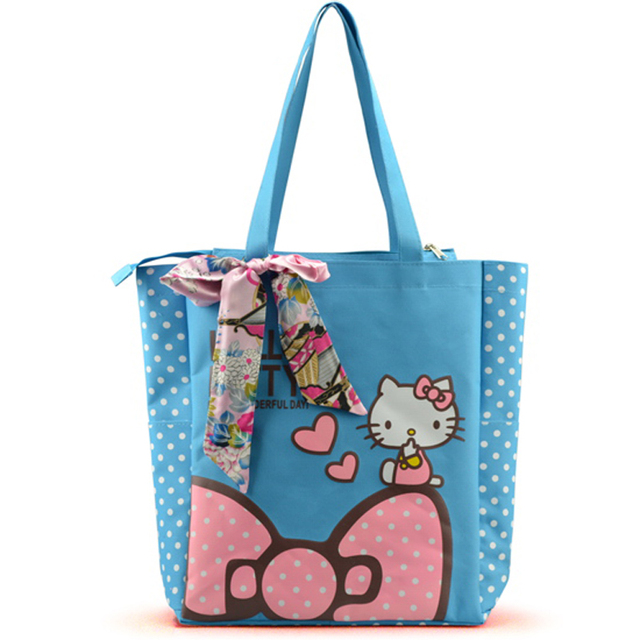 Waterprood Nylon Hello Kitty Shopping Bags Women Shoulder Bags With Scarves Bow 4 Colors Women Bags
