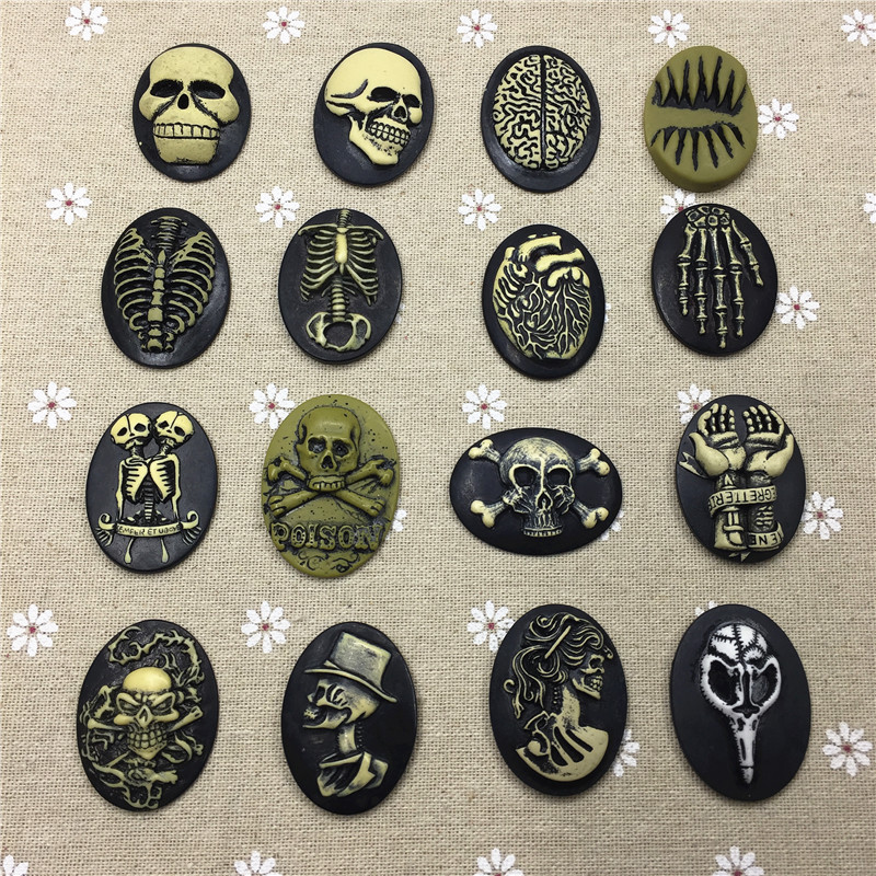 Free shipping!Mixed organ/skeleton resin Cameo. 10Pcs/lot .Resin Flatback Cabochon for Necklace Pendant .Jewelry.DIY,30*40mm
