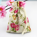 Small Cute Pink Flower Linen Cotton Bag 10pcs/Lot 10x14cm Drawstring Jewelry Bags For Beads Bracelet Gifts Packaging Bags