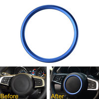 Blue Car Steering Wheel Cover Ring Trim Decoration Covers For XF XE F Pace F Type